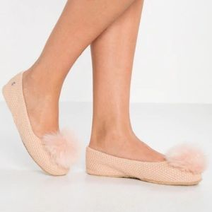 NWT UGG Andi Pink Pom Ballet Cotton Knit Slippers